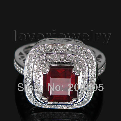 Solid 14Kt White Gold Natural Diamond Red Ruby Engagement Ring,Rubi Ring 585 White Gold Princess 7mm
