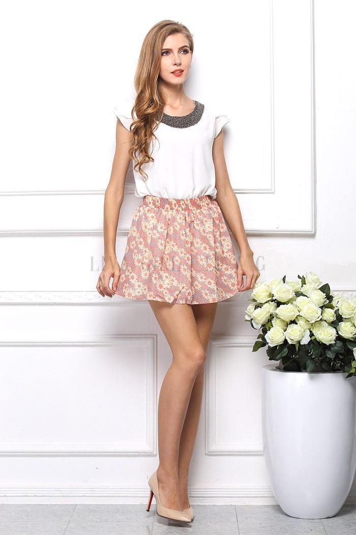 Aliexpress.com : Buy Women mini skirt ladies pleated chiffon ...
