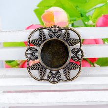 Gratis pengiriman Eceran 5 Pcs Antique Bronze Filigree Wraps Connnector Hiasan Cameo Pengaturan Bingkai 4.2x4.2 cm F0461(China)