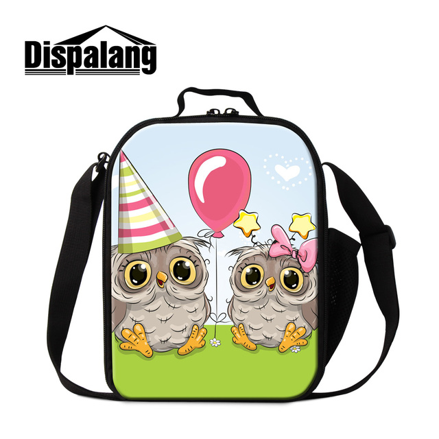 Dispalang cute owl cartoon animal lunch bag for girls women thermo lunch bags insulated custom packed lunch cooler bag for kids