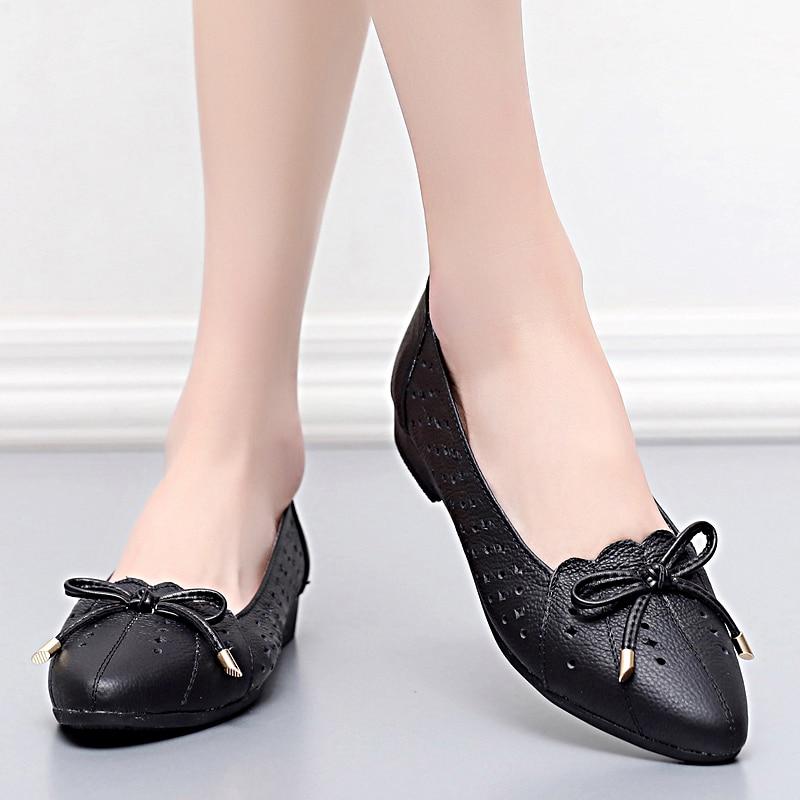 2018womens sandals shoe Zapatos planos de cuero genuino de la mujer - Zapatos de mujer - foto 5
