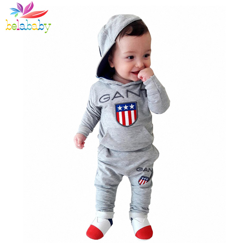 Belababy Baby Boys Clothing Sets 2018 Newborn Baby Embroidery Letter Print Hoodies + Pan ...