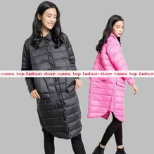 2016 new fashion shirt collar loose longer sleeve duck down jacket without hat thin autumn and