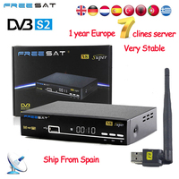 1 Year Europe 7 Clines Server Spain Italy Arabic Freesat V8 Super DVB S2 Satellite Receiver