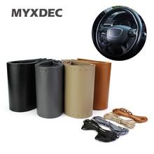 Steering Wheel Cover Genuine Cowhide Leather DIY Hand Sewing Diameter 37-39cm Black Grey Beige Brown Wholsale Gifts
