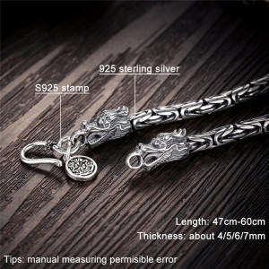 Image 2 - V.YA Punk Style Real Silver Dragon Necklace Men Chain 925 Sterling Silver Necklaces for Male Mens 50cm 55cm 60cm
