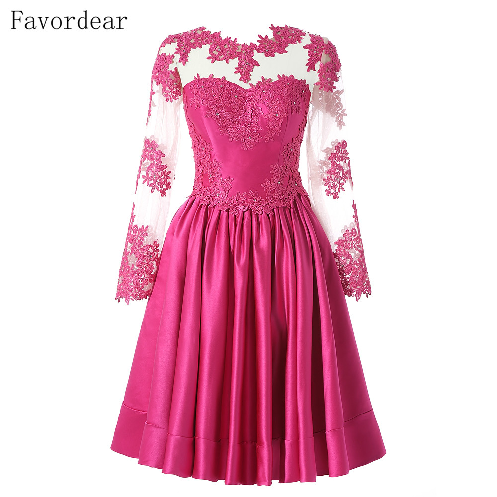 Favordear Full Sleeve Beaded High Neck Short Red Party   Dresses   Bling Fashionable A Line Black Beading   Cocktail     Dresses
