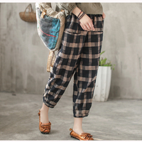 Women Linen Pants Big Loose Retro Vintage for Spring Summer Elastic Waist Casual Fashion Pants Plaids 80501