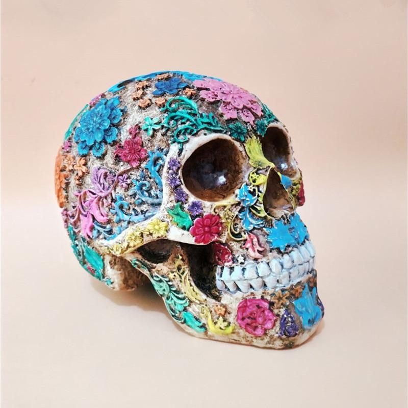 Resin Craft Skull Statues & Sculptures Garden Statues Sculptures Skull Ornaments Creative Colorful DIY Art Carving Statue