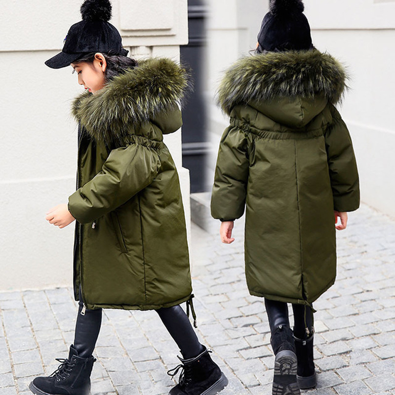 Winter Children Jacket New 2018 Fashion Real Fur Collar Girls Warm Hooded Long Down Coats Thick Duck Down Kids Outerwears TZ104 new women s fashion authentic korean slim fur collar down jacket female long thick warm white duck down jacket for snow h1013