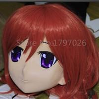 ที่ทำด้วยมือยางเต็มหัวหน้ากากเครื่องรางหญิงkigurumiคอสเพลย์crossdresser kigurumiหน้ากากตาผมสีสามารถปรับแ...
