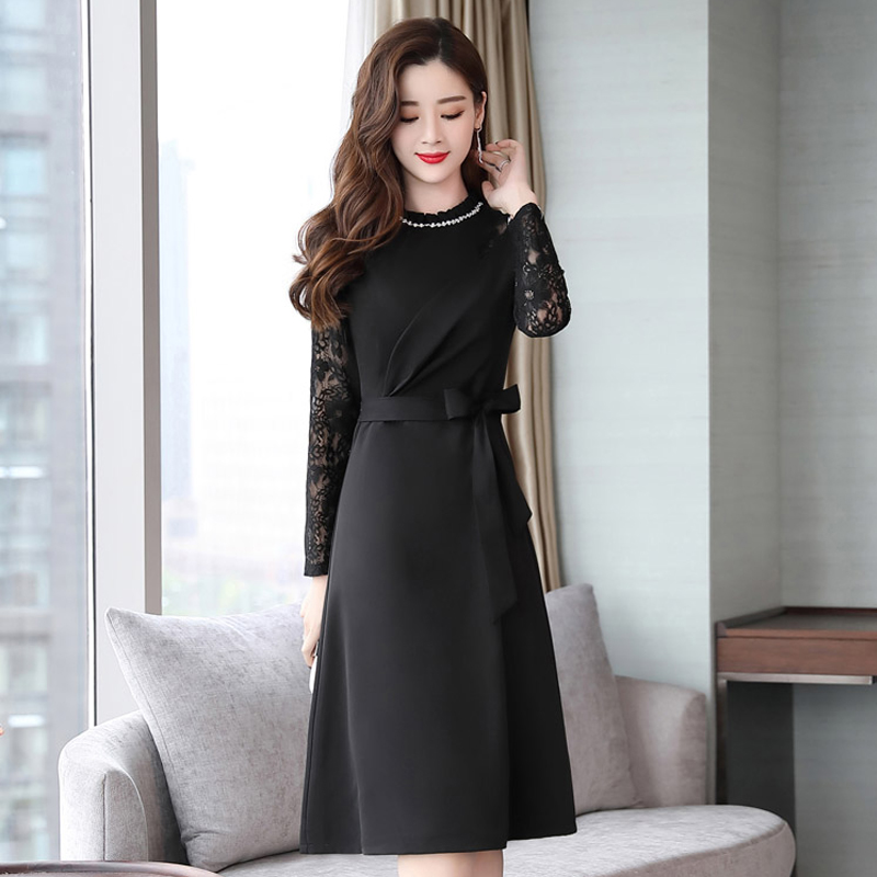 2019 New Women 39 s Spring Temperament Ladie Dresses Laces Dress Long Korean Version Autumn Winter Female Fashion thin Trend Inside in Dresses from Women 39 s Clothing