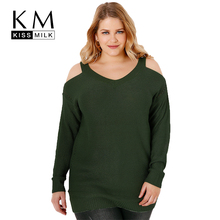 Kissmilk Women Plus Size Cold Shoulder Side Hollow Out Sweater Solid Long Sleeve Basic Tops Large Size Loose Sweater 3XL 7XL все цены