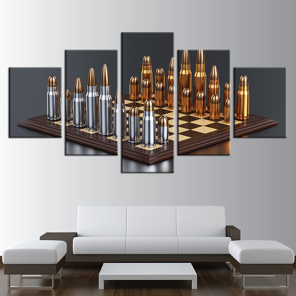 Wall Art Modular Pictures Home Decor Living Room Frameworks 5 Pieces Bullets Chess Game HD Prints Painting Abstract Poster TYG