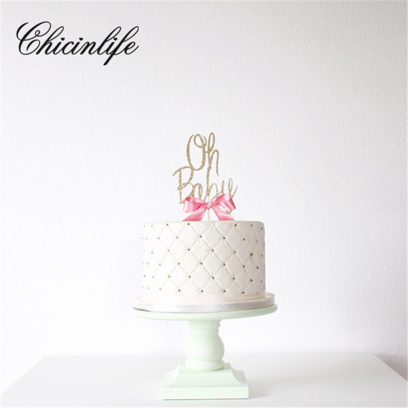 Chicinlife 1Pcs Gold Glitter Oh Baby Cake Topper 1St