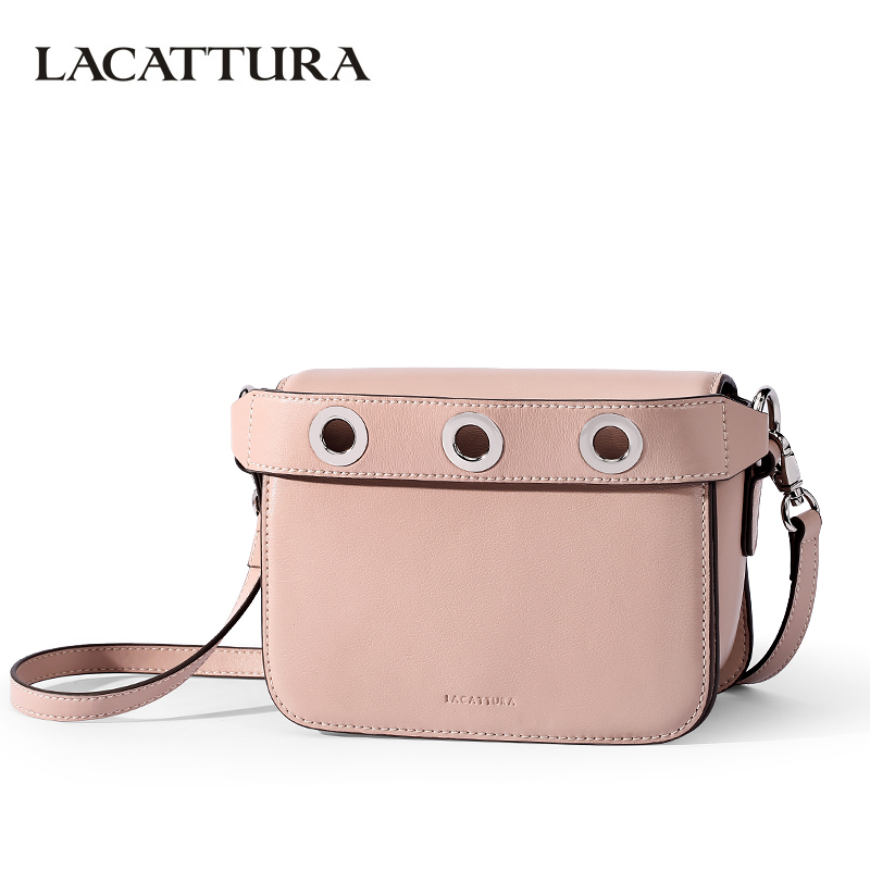 LACATTURA Luxury Handbag Young Small Rivet Clutch Designer Women Leather Shoulder Bag Fashion Messenger Bags Crossbody for Lady fashion split leather women messenger bags tassel rivet luxury small shoulder bags solid color retro top grade mini saddle bag