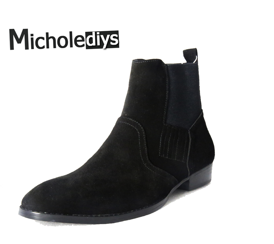 Micholediys Handmade New arrival Spring Nubuke Mens Dress Wedding Party Shoes Chelsea Boots Platform Rubber Suede Boots Zapatos new arrival spring and autumn pink pearl wedding shoe up heel platform shoes woman party shoes luxury handmade shoes