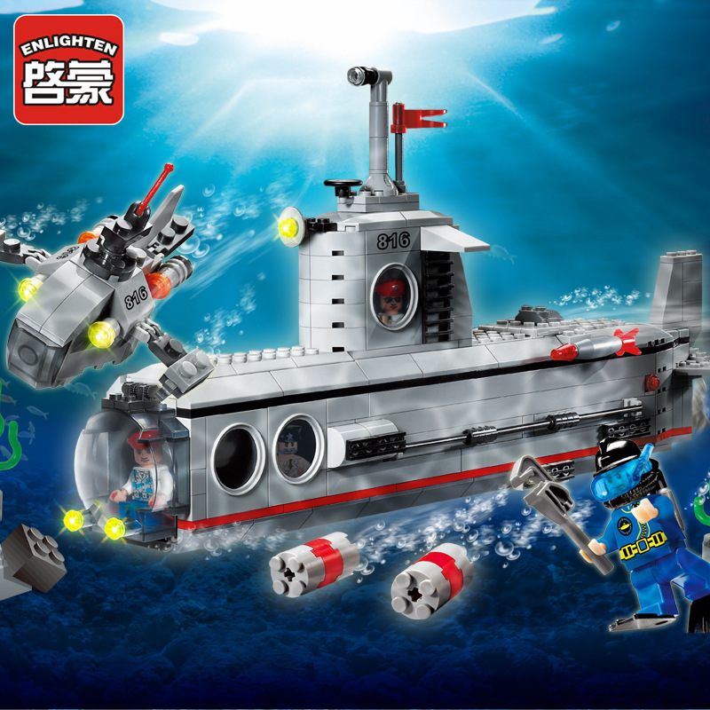Enlighten 816  Military series Submarine u-boat 3D Model building blocks Assemble DIY Mind Brick Kid Practical Toy Gift yuego toys high brick 1 4 60p diy kid woma diamond building blocks enlighten playmobil abs decool minecraft