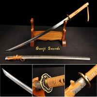 Handmade Katana Japanese Samurai Sword 1060 High Carbon Steel Sharp Blade White Snake Tsuba
