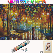MOMEMO Romantic Rainy Night 150 Pieces Mini Jigsaw Puzzle Tube Paper Adults Landscape Toys Kids Teens Gifts