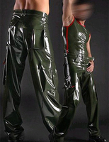 Men Latex fetish sexy pants for adult with belt plus size Customize service