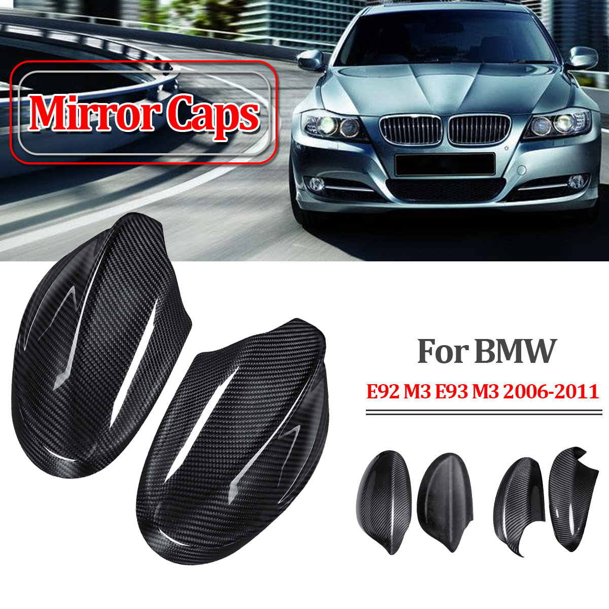 2PCs Carbon Fiber Side Mirror Covers Case For BMW Pre-facelift E92 M3 E93 M3 06-112PCs Carbon Fiber Side Mirror Covers Case For BMW Pre-facelift E92 M3 E93 M3 06-11