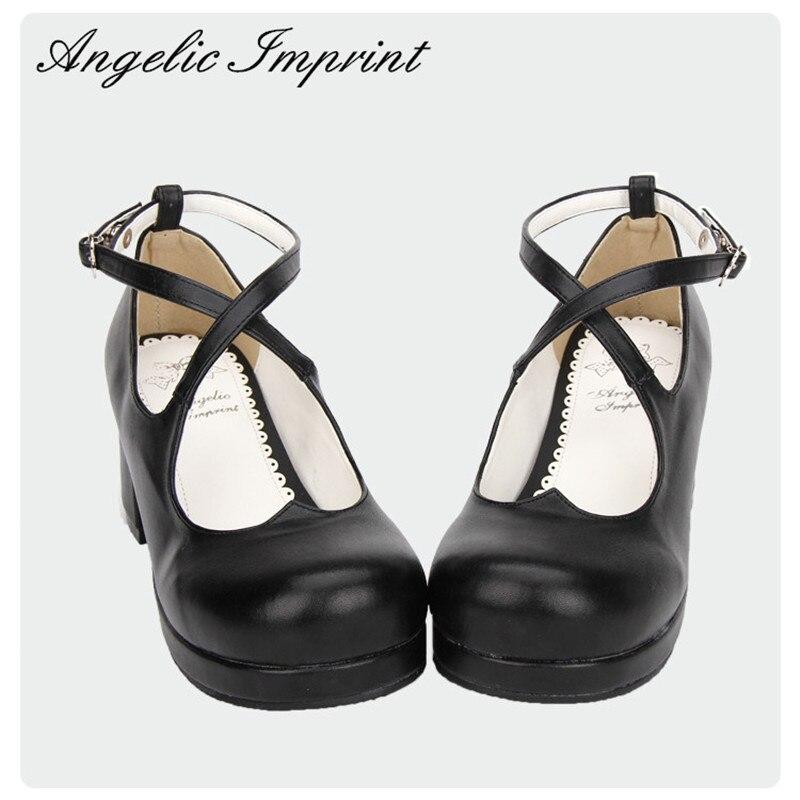 Ayakk.'ten Kadın Pompaları'de Japon Tatlı Kalp Criss Çapraz Ayak Bileği Kayışı Lolita Ayakkabı Siyah PU Deri Kare Yüksek Topuk Bayan Ayakkabıları'da  Grup 1