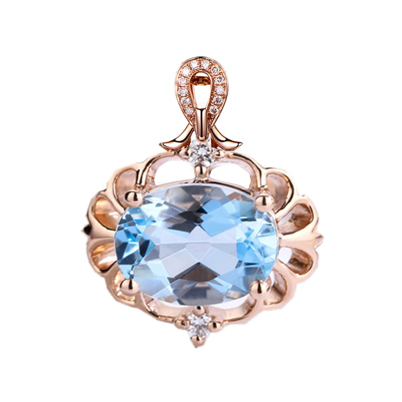 Solid 14k Rose Gold Pendant 6X8MM Oval Cut Natural Aquamarine Engagement Wedding Pendant for Women Fine Jewelry Classic
