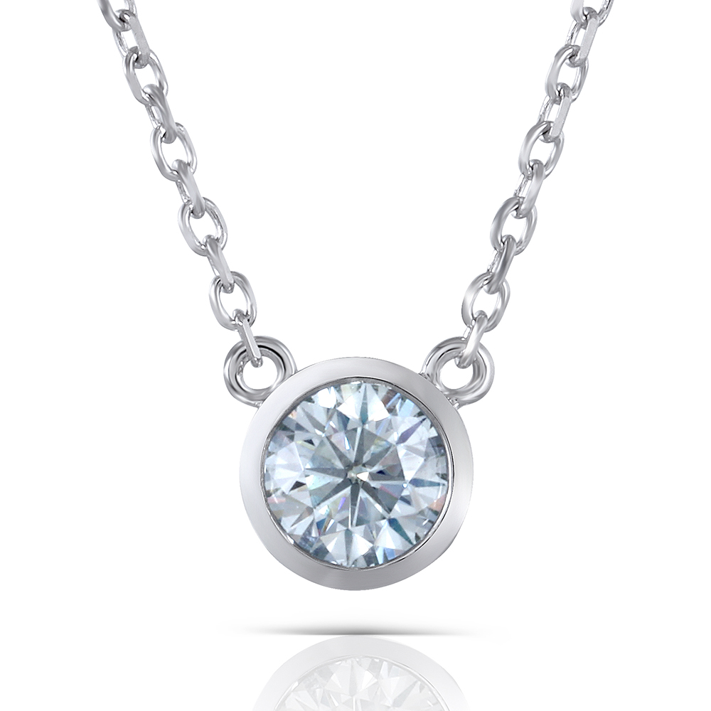 Transgems 1 Carat 6.5mm moissanite Pendant Necklace Platinum Plated Silver With Platinum Plated Silver Chain free shipping new arrival jade