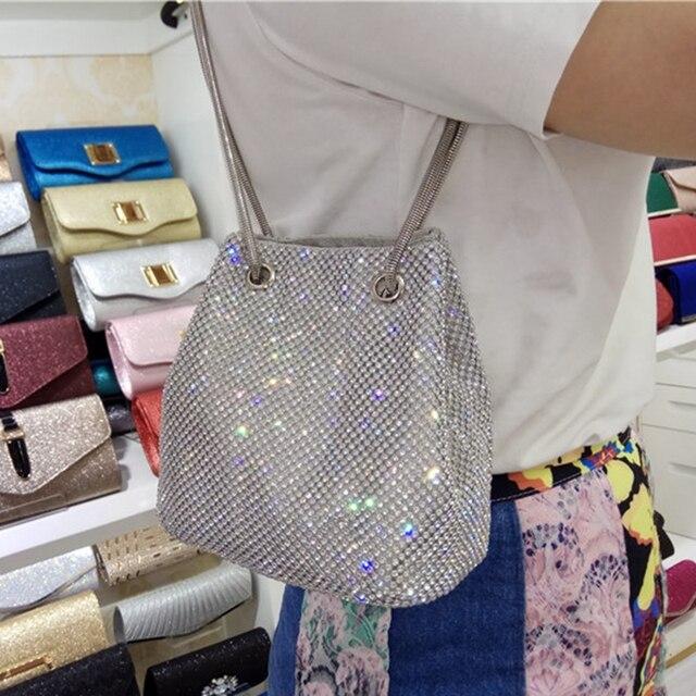 DOYUTIG Brand Shining Women PU Leather Bucket Bags With White Diamond Luxury Lady Mini Size Crystal Shoulder&Crossbody Bag A202 5