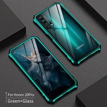 Funda armadura de Metal para Huawei Honor 20 Pro 20i, carcasa de aleación de aluminio, vidrio templado, a prueba de golpes, funda para Honor 20 Lite