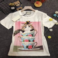 N 2019 luxury good quality print cat Women Tshirt harajuku painting o T Shirt casual Top Tee short sleeve