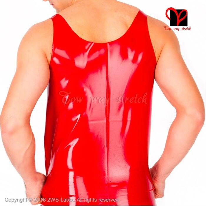 Сексуальная черная рубашка без рукавов из латекса облегающая