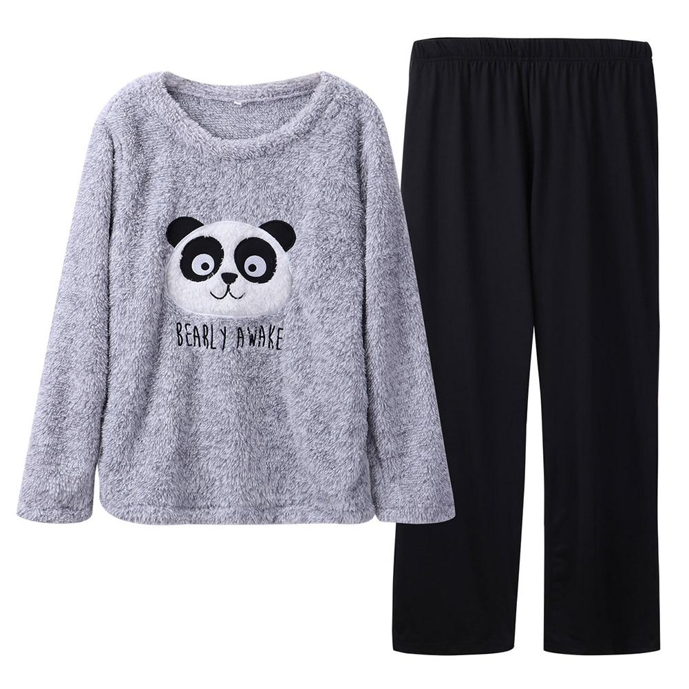 Cute  Printing  Flannel  Winter  Pajamas  For Women  Men Plush Fabric  Pyjamas Suit  Comfortable Home Clothe  Пижама  Мужская