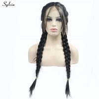 Sylvia Double Braids Wig With Baby Hair Heat Resistant Fiber Natural 2# Color Braided Synthetic Lace Front Wigs Stock For Women