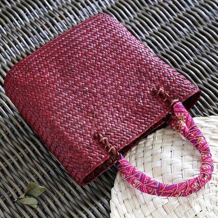 Vintage straw tote bag storage bag woven shopping bag shoulder bag ethnic style woven handbag 2