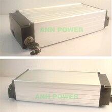 Caja de batería de litio tipo rejilla trasera para bicicleta eléctrica, caja de aluminio de batería de litio de 36V o 48V, tamaño interno 18650x290x68mm, 145
