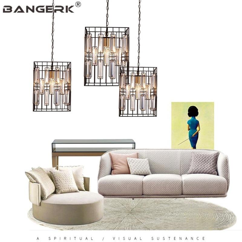 US $147.12 36% OFF|American Modern LED Pendant Lamp Crystal Iron Hanging  Light Fixtures Pendant Lighting Dining Room Lights Loft Decor Luminaire-in  ...