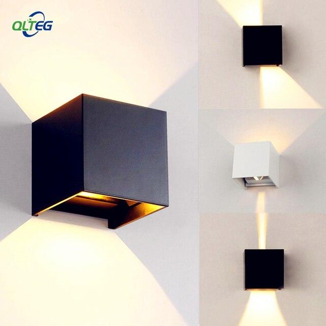 Breve cubo moderno ajustável superfície montado lâmpadas de parede led ao ar livre à prova dip65 água ip65 alumínio luzes de parede para cima para baixo jardim luzes