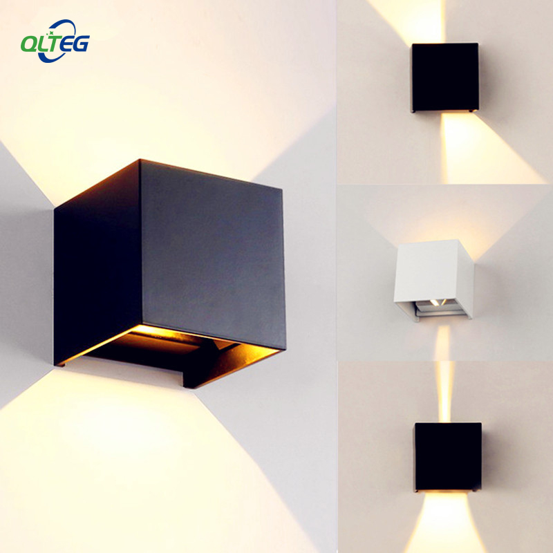 Modern Brief Cube Adjustable Surface Mounted  LED Wall Lamps Outdoor Waterproof IP65 Aluminum Wall Lights up down Garden LightsModern Brief Cube Adjustable Surface Mounted  LED Wall Lamps Outdoor Waterproof IP65 Aluminum Wall Lights up down Garden Lights