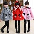 2016 дети девушки шерсти зимнее пальто Корейские дети в папку хлопок кукла вышивка милый мультфильм розовой шерсти пальто