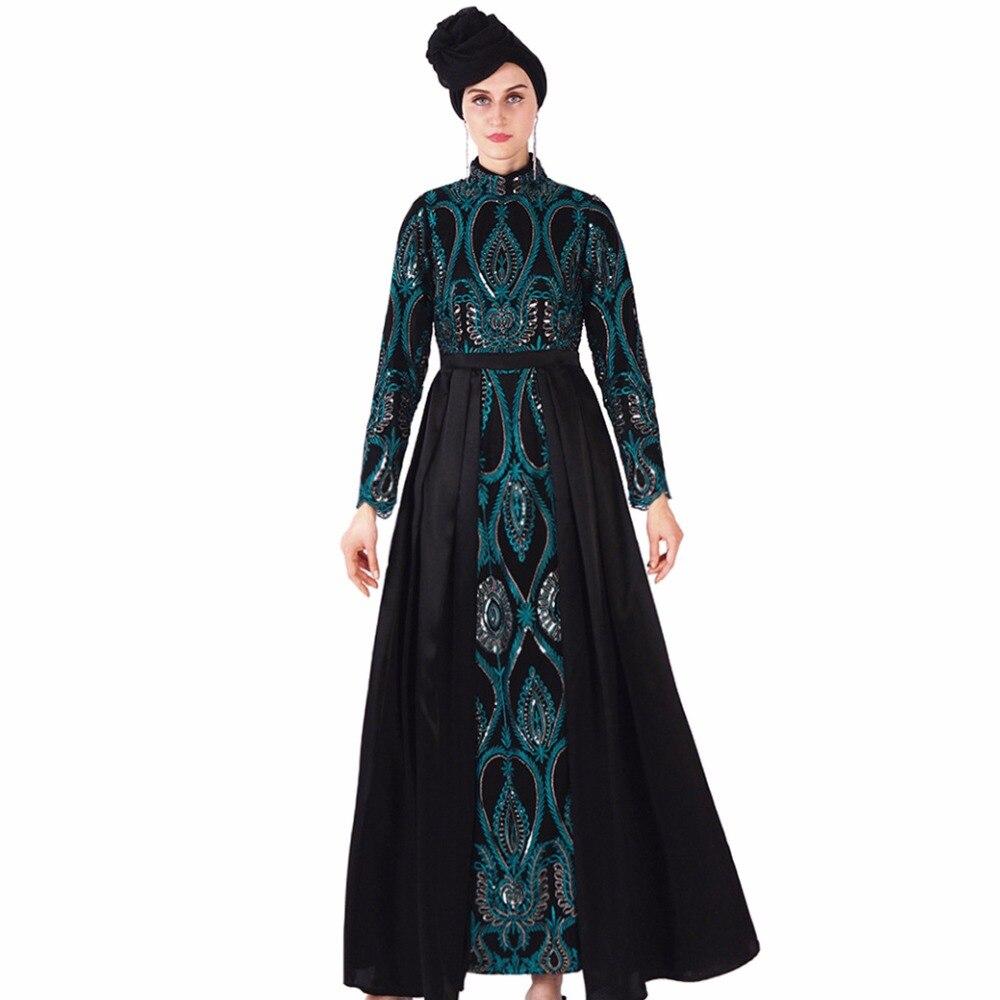Babalet femmes musulman luxe paillettes épissure Sequin broderie Slim Abaya Vintage manches longues élégant Maxi a-ligne robe dubaï
