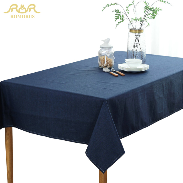 ROMORUS Solid Color Waterproof Tablecloths Tafelkleed Navy Blue Grey Beige  Table Covers Rectangular Wedding Party Table