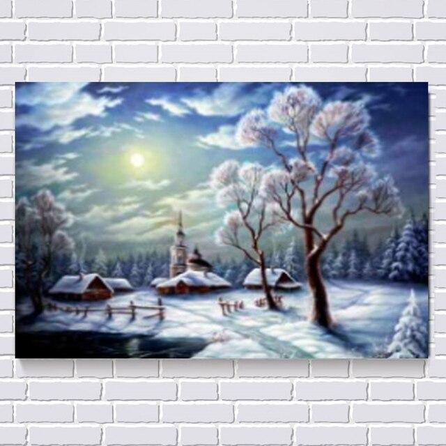 5D Diy Полный алмазов живопись вышивка крестом пейзаж алмаз вышивка Зима снег украшения Дома картины стикер