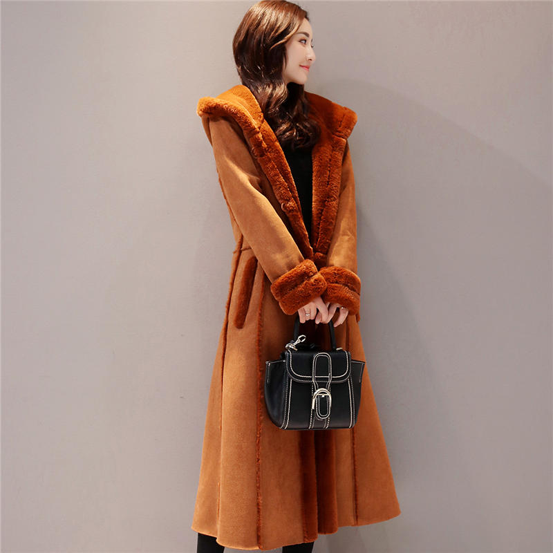 Autumn Winter Women Suede Jacket Hooded Coat Long Sleeve Warm Soft Lambswool Thicken Long Jacket Winter Coat Abrigo Mujer Q632