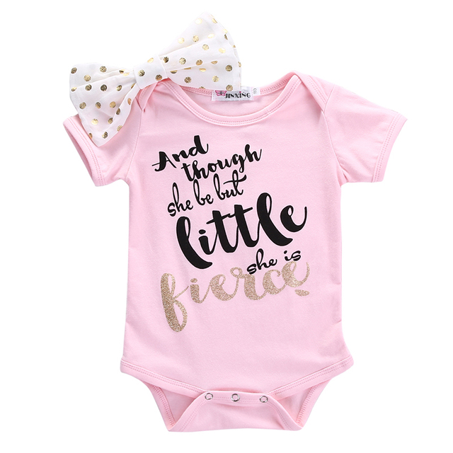 6101d0f9b2f5a Pink Cute Baby Girls Bodysuit Newborn Infant Baby Girl Clothes Short Sleeve  Bodysuit Jumpsuit Bow Outfits One Pieces 0-18M