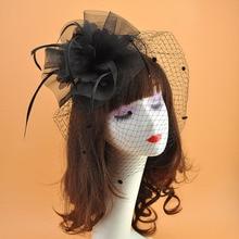 Fashion fedora Women elegant Flower Mesh Ribbons Feathers Fedoras Hat wedding Bride Headband Clip Tea Party Headwewar for Girls