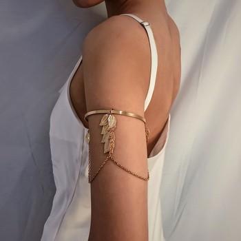 Boho Gold/Silver Color Leaves Upper Arm Bracelet for Women Love Retro Bracelet Bangle Jewelry Female Charms Bracelet Cuff Femme retro faux crystal leaf cuff bracelet for women