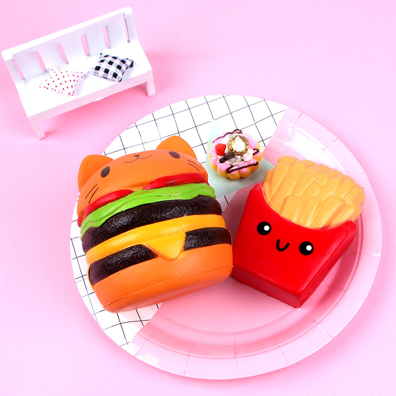 New Soft Squash Toys Burger French Fries Squishy Set Jumbo Slow Rising Food Anti-Stress Squish For Kids Anti Stress Relieve Toy
