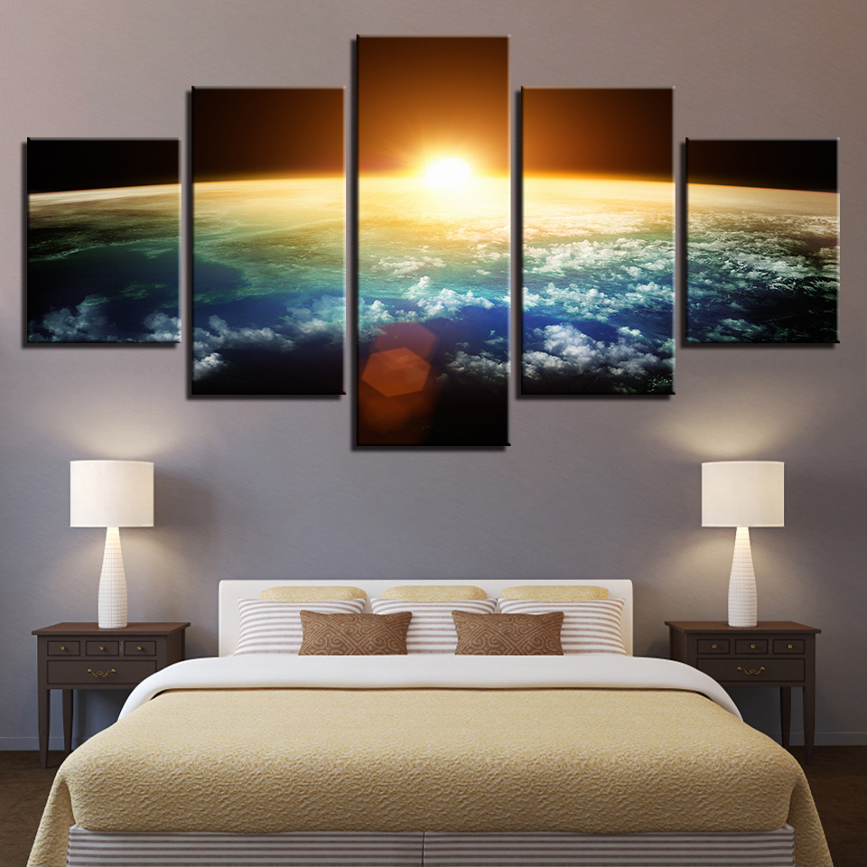 Abstract Painting Living Room Wall Art 5 Piece Universe Sunshine Space Poster HD Prints Blue Earth Pictures Home Decor Framework in Painting Calligraphy from Home Garden